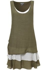 Khaki Layered Bottom Tunic Top