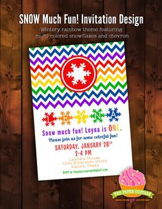 SNOW Much Fun Wintery Rainbow printable invitation design - featuring vibrant rainbow toned snowflakes and chevron for a fun, quirky winter rainbow theme by papercupcakedesigns, $15.00 #rainbowparty #winterrainbow