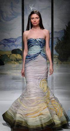 lovely design of blue wedding dress