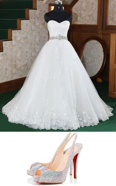 """Amy's wedding dress"" by coco-barragan ❤ liked on Polyvore"