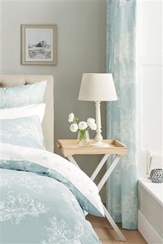 Buy Duck Egg Toile Pencil Pleat Curtains from the Next UK online shop Bedroom Color Schemes, Bedroom Colors, Bedroom Decor, Bedroom Curtains, Bedroom Ideas, Diy Curtains, Bedroom Designs, Bedroom Inspiration, Master Bedroom