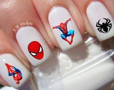 These decals can be applied to any type of nails (regular polish, soak off gel, hard gel and acrylic). Spider Man nail decals, very pretty, bright stickers with unique designs. Spider Man nail stickers made on high quality decal paper. Nail Art Stickers, Nail Decals, Blue Nails, My Nails, Spider Men, Marvel Nails, Summer Gel Nails, American Nails, Unicorn Nails