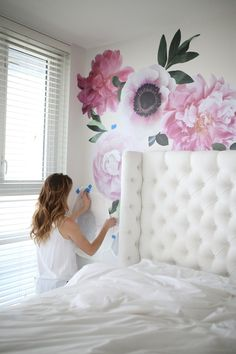 Soft Pink Garden Flowers in 2019 Sage Green Walls, Deco Rose, Floral Comforter, Feminine Bedroom, White Painted Furniture, Flower Wall Decals, Room Decor, Wall Decor, Pink Garden