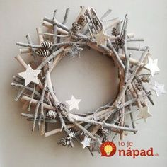 Grey boughs wreath, gray Xmas wreath, grey wooden sticks wreath with wooden stars and pine cones, rustic boho Xmas wreath, woodland wreath - Happy Christmas - Noel 2020 ideas-Happy New Year-Christmas Twig Christmas Tree, Natural Christmas, Etsy Christmas, Rustic Christmas, Christmas Time, Primitive Christmas, Beautiful Christmas, Simple Christmas, Twig Crafts