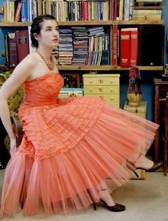 1950's Party Dress Lace & Tulle Coral Pink Strapless by Fabstract, $265.00