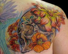 Download Free ...   Day of the Dead Skull with nasturtiums and dahlia flowers tattoo to use and take to your artist.