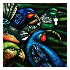 Tapa Manu. Giclee print on Hahnemühle archival paper. Limited edition of 100. Huia, Fantail, Kaka, Tui. Juliet Best Art Prints, Wellington, New Zealand, NZ.