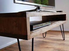 stand stand stand reclaimed wood diy tv stand stand vintage retro box stand w metal hairpin legs solid wood rustic unit table stand easy diy pallet tv stand Solid Wood Cabinets, Tv Cabinets, Tv Stand And Coffee Table Set, Rustic Furniture, Home Furniture, Retro Furniture, Tv Retro, Retro Tv Stand, Industrial Tv Stand