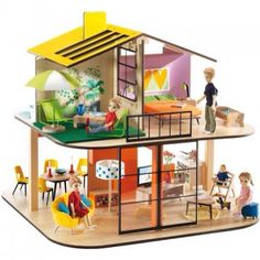 Color house dolls house Djeco Toys and Hobbies Children Family Furniture, Large Furniture, Wooden Dollhouse, Wooden Dolls, Dollhouse Ideas, Parents Room, Kids Room, Dolls House Figures, Kids Toys
