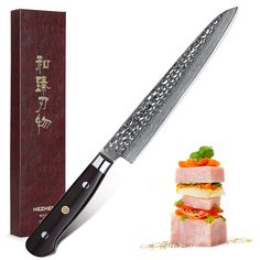 HEZHEN 8'' Slicing Knife 62 Hrc VG10 ... Sushi Fish, Cleaver Knife, Archery Supplies, Chef Knife, Damascus Steel, Sashimi, Japan Fashion, Multifunctional, Kitchen Knives