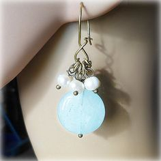 Brass earrings earrings with stones aquamarine earrings от Lybid  USD 19.00