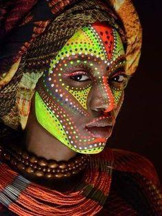 Africa art, african makeup, african beauty, african fashion, african face p African Makeup, African Beauty, African Tribes, African Art, African Face Paint, African Drawings, African Women, Tribal Face Paints, Art Afro