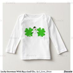 Lucky Snowman With Big 4-Leaf Clover Shirts #StPatricksDay #Gravityx9