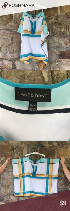 Lane Bryant 14/16 Scarf Blouse Lane Bryant Scarf Blouse. 14/16. This trendy Top would look great with a mustard yellow or teal top under it with a pair of jeans and boots- or heels for date night with your hubby or friends! This too would look great with the jeans in my closet! Bundle for savings! 😃😃 Lane Bryant Tops Blouses