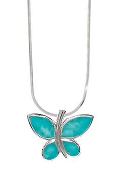 Turquoise and Sterling SIlver Butterfly Necklace