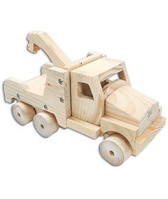 Build A Working Wood Vehicle Kit Tow Truck Woodworking Projects For Kids, Woodworking Workshop, Wood Projects, Woodworking Crafts, Toddler Toys, Baby Toys, Kids Toys, Wooden Truck, Stationery Craft