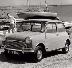 The Austin and Morris Mini was designed by Alec Issigonis for BMC, and was produced at Longbridge, Birmingham and Cowley, Oxford from 1959 onwards. An instant hit with younger drivers, it became the iconic symbol of Britain throughout the 1960s. The sailing dingy had to be purchased separately!
