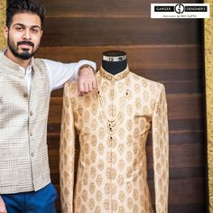 The best to carry the Sherwani is to wear like the most stylish statesman Jawahar Lal Nehru used to wear. It's best if its bespoke.