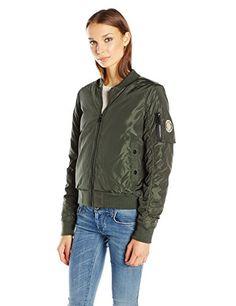 MADDEN GIRL Women/'s Plus Size 1X OLIVE GREEN BOMBER JACKET nylon coat