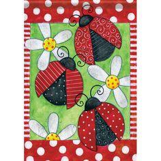 Lady Bug Daisy Polka Dot Spring Summer Double Sided House Flag 28 x 40