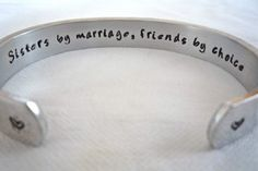 Sister-in-law Present, Bridesmaid Gift, Customize Your Message-Personalized Bracelet, by TheSilverSwing by TheSilverSwing on Etsy Wedding Gifts, Our Wedding, Dream Wedding, Bride Gifts, Wedding Things, Perfect Wedding, Wedding Decor, Wedding Stuff, Law Tattoo