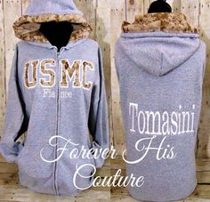 Official USMC Hobbyist License #31406    Support your Marine/Hero with our USMC varsity style zip up, name is included in listing price. All