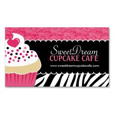 Funky Zebra Print Cupcake Bakery Business Cards. Make your own business card with this great design. All you need is to add your info to this template. Click the image to try it out!