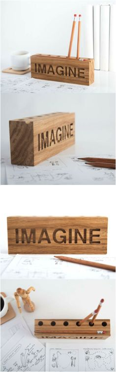 Rustic desk organized made from a piece of salvaged solid oak to hold your pencils. Holds 6 items and can be customized with a short word of your choice (up to 8 letters). Great as a gift for someone starting a new job or going back to school.