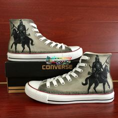 b58591ff7a5 Hand Painted Converse Shoes High Top Knight With Horse Custom Summer  Sneaker All Star Offer Men