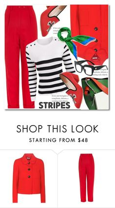 """Big, bold stripes"" by paculi ❤ liked on Polyvore featuring Miu Miu, Topshop, Mulberry, StreetStyle, casual, red, preppy and BoldStripes"