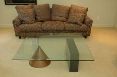 "Modular modern contemporary glass coffee table, 48""x14"""