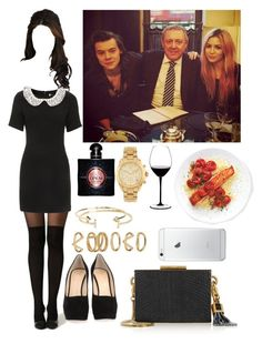 """Dinner with Harry,Des & Gemma"" by tinateva ❤ liked on Polyvore featuring Giuseppe Zanotti, Riedel, Topshop, Yves Saint Laurent, River Island, Michael Kors, Forever 21, Aéropostale and Lanvin"