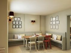 gastro pub interior. love the light colours and tongue and groove banquette. also grouped pictures on the walls