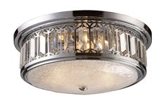 The Flush Mounts collection exhibits the same beautiful detailing as a chandelier, but in a smaller size suitable for lower ceilings and smaller spaces. Each item has an attractive banding on top with white satin glass and a decorative finial. Choose from