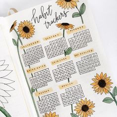 12 Bullet Journal Hacks That You Need To See! - Nikola Kosterman 23 Stunning Sunflower Themed Bullet Journal Layout and Spread Ideas Bullet Journal School, Bullet Journal Tracker, Bullet Journal Inspo, Journal D'inspiration, Bullet Journal 2019, Bullet Journal Notebook, Bullet Journal Aesthetic, Bullet Journal Ideas Pages, Bullet Journal Goals Layout