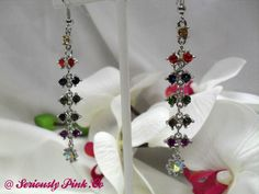 Multi-colored rhinestone dangle earrings...$1.00 at Seriously Pink