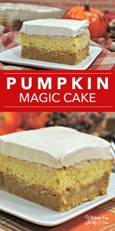 It's Moist Yellow Cake, Pumpkin Pie And Pumpkin Pie Spice … Pumpkin Magic Cake. It's Moist Yellow Cake, Pumpkin Pie And Pumpkin Pie Spice … – # Pumpkin Pie Ingredients, Cake Mix Ingredients, Köstliche Desserts, Delicious Desserts, Yummy Food, Yummy Snacks, Macarons, Flan, Magic Cake Recipes