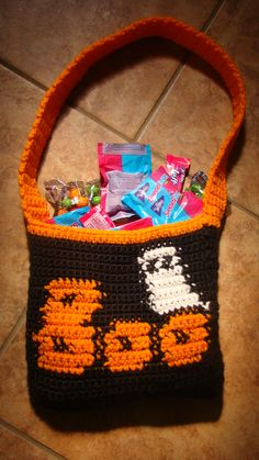 So Cute! So Easy! This Crochet Halloween Bag is great to make for a child's night out. It is carried across the chest making it a hands free bag. This amazing bag and many more Halloween crafts can be found at craftown.com!!
