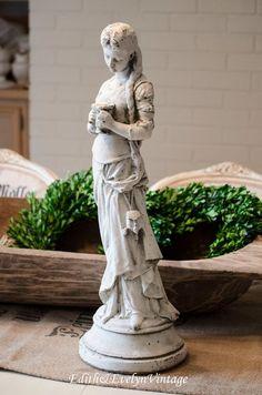 Vintage French Maiden Statue, Hip Moreau, White Cement, Garden .