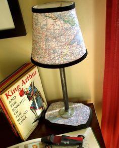Make a lamp shade using maps and Mod Podge.