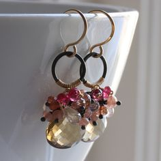 SALE - b i t t e r s w e e t - gemstone cluster earrings, beer quartz, pink spinel, sunstone, rhodochrosite and rose quartz