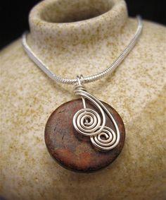 Silver Wire Wrapped Pendant Necklace Mottled by LoneRockJewelry,