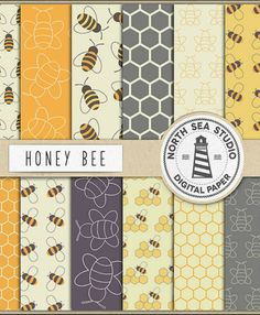 Honey Bee Digital Paper, Scrapbooking Backgrounds, Honeycomb Pattern, Honey Bees #ad #Etsy #bee #bees #scrapbooking #instantdownload