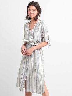 Stripe V-Neck Midi Shirt Dress | Gap
