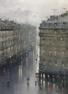 Paris in the Rain, watercolor by Joseph Zbukvic (b. 1952), Croatia (theportablefaulkner)