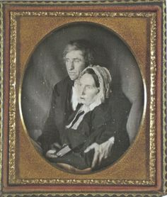ca. 1845, [portrait of a gentleman holding his dead wife] Post-Mortem. Photography was very populat during the Victorian era. Often living relatives will appear in the photograph with them. The most common kind of Post Mortem is mother holding a deceased child.