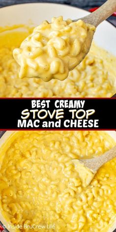 Best Creamy Stove Top Mac and Cheese - this easy homemade Mac and cheese has three kinds of cheese in it. Make this stove top recipe for busy nights. and cheese Velveeta Mac And Cheese, Cheesy Mac And Cheese, Stovetop Mac And Cheese, Macaroni Cheese Recipes, Creamy Macaroni And Cheese, Creamy Cheese, Mac And Cheese Recipe With Cream Cheese, Mac And Cheese Receta, Simple Mac And Cheese