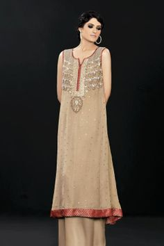 Light Brown A-Line Shirt Trouser - Latest Designer Dresses - Fashion Wear 2019 - Bridal & Formal Fashion Wear, Latest Fashion Clothes, Fashion Dresses, Fashion 2020, New Dress For Girl, Latest Pakistani Fashion, Heavy Dresses, Bridal Dresses Online, Indian Designer Outfits