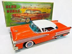 "Excellent 1958 Oldsmobile W/Box Tin friction 13"" By ATC (Asahi Toys) Japan NR | eBay Atc, Japan, Toys, Ebay, Okinawa Japan, Gaming, Games, Toy"