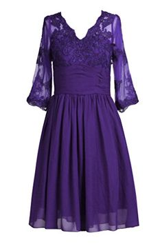 Ellames Womens V Neck Knee Length Mother Of The Bride Dresses With Sleeves Purple US 12